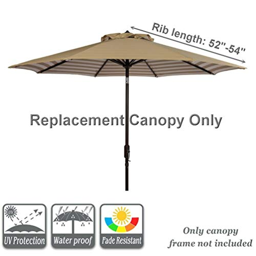 Bayside21 9 ft Patio Umbrella Replacement Market Table Outdoor Umbrella Canopy Unique Design Polyester Fabric Umbrella Top Only 8 Ribs Beige Stripe