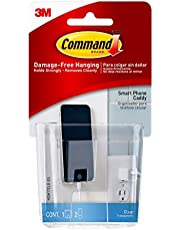 """Command Smart Phone Station, Clear, 1-Caddy, 2-Strips, Organize Damage-Free, fits phones up to 2.75"""" wide"""