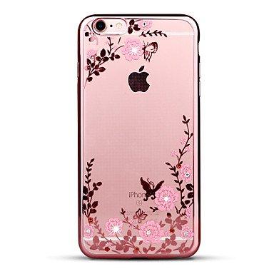 Fundas y estuches para teléfonos móviles, para el rhinestone de la cubierta del caso que platea la caja ultrafina de la contraportada del patrón caso suave de la flor para el ( Color : Rosa , Modelos