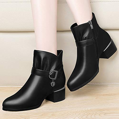 Dress Dress Dress Pile Short da Nera Pelle Boots Boots Boots Mid Party Stivaletti Donna Shoes Inverno in Chunky Office Block in Heel Black Work Fodera Calda azqAH