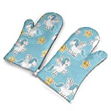 Feedertrewm Unicorn Stars Decoration Magic Animal Wallpaper Designs Personality Oven Mitt, Set of Two,Kitchen Gloves,A Pair of Gloves,BBQ Gloves for Cooking