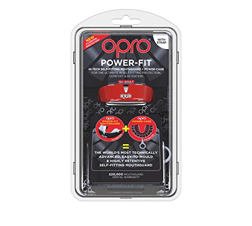 OPRO Power-Fit Mouthguard | Adult Handmade Gum Shield + Strap for Football, Lacrosse, Hockey and Other Contact Sports - 18 Month Dental Warranty (Ages 10+) (Red) by OPRO (Image #1)