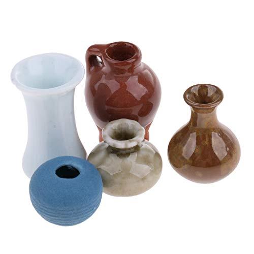 NATFUR 1/12 Dollhouse Miniatures Accessory China Porcelain Ceramic Vases Set 5pcs