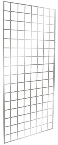 Only Garment Racks #1900C (Box of 3) Grid Panel for Retail Display - Perfect Metal Grid for Any Retail Display, 2'x 6', 3 Grids Per Carton (Polished Chrome -
