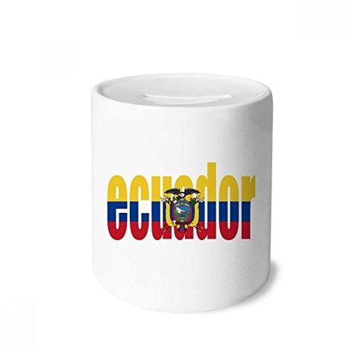 (DIYthinker Ecuador Country Flag Name Money Box Saving Banks Ceramic Coin Case Kids Adults)
