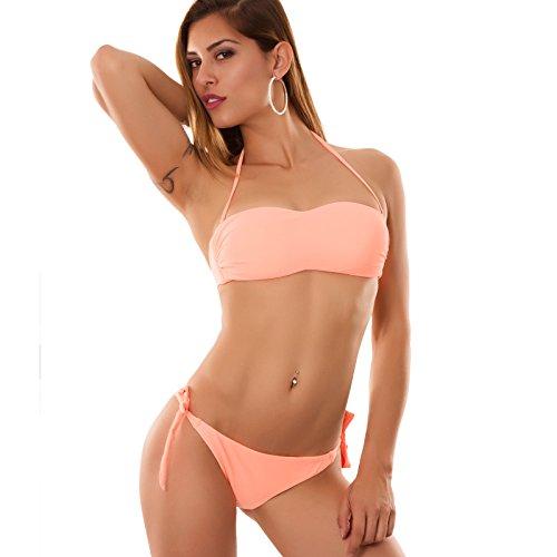 B1557 donna moda Arancio fascia Fluo DD costume mare Toocool brasiliana Bikini Chiaro 61nYxqH0