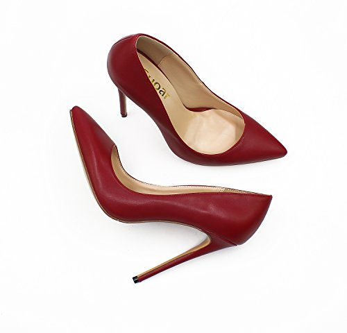 Guoar Womens Stiletto Big Size Shoes Pointed Toe Patent Ladies Solid Pumps For Work Place Dress Party B-red Wine GOseu