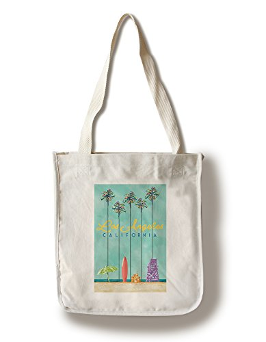 Lantern Press Los Angeles, California - Tall Palms Beach Scene (100% Cotton Tote Bag - Reusable) -
