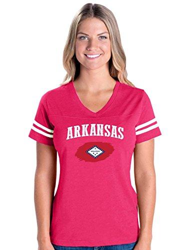 Arkansas State Flag American Womens V-Neck Fine Jersey Tee (Golf University Arkansas State)