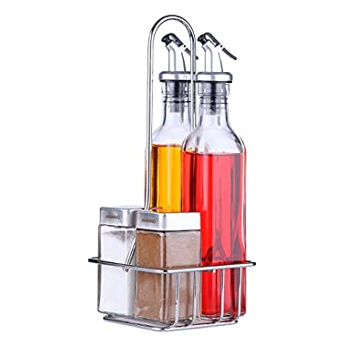 Oil and Vinegar Set - Le Juvo Oil, Vinegar, Salt and Pepper Set , 5 Piece - Two 9 Oz, Two 4 Oz, and Stand