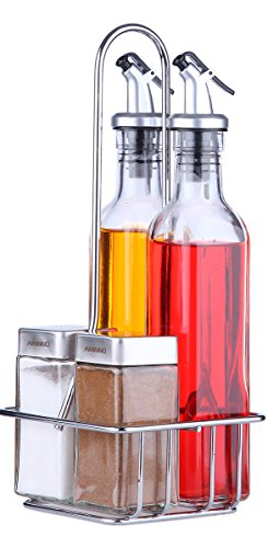 - Oil and Vinegar Dispensers 5 Piece Combo Set - Includes Glass Cruet Set and Salt and Pepper Shakers with Convenient Caddy Stand - Features Lever Release Pourer & Stainless Steel Tops - 9 oz. and 4 oz.