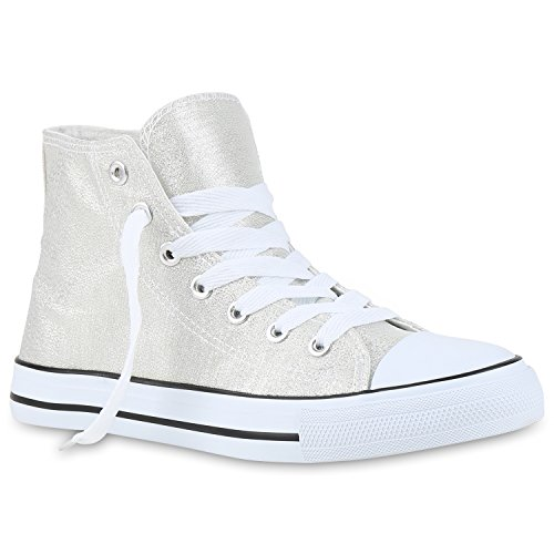 Stiefelparadies Sneakers High Damen Schuhe Canvas Turnschuhe Sportschuhe Flandell Silber