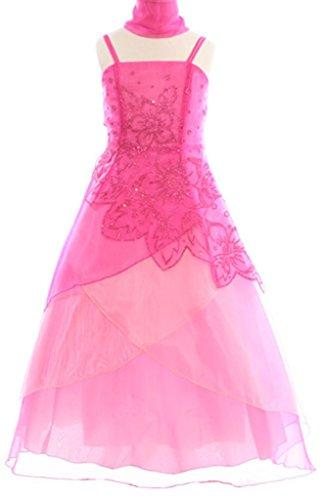 (AkiDress Elegant Caviar Layer Organza Dress with Beaded for Little Girl Fuchsia 8)