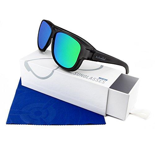 UV400 à – Lunettes polarisées Surlunettes miroité Sol protection DE Active SUR Noir LUNETTES pilote de SOLEIL design Aviateur H7qn60