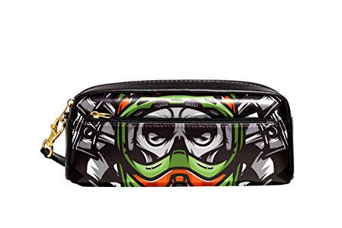 (Skull Black 04 Big Capacity Oxford School Pencil Case Pen Bag Pouch Stationary Case with Double Zippers for Boys Girls Kids 8.1x2x3.3in)