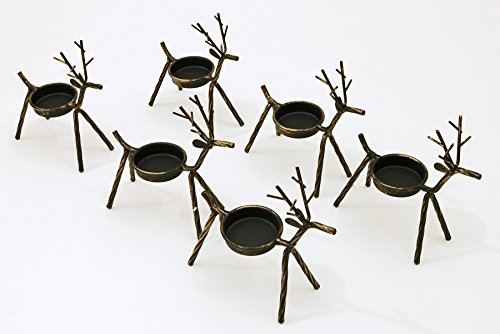Reindeer Tea Light Holders Iron Rustic Finish Set of 6 by LTD Commodities (Rustic Holder Candle Reindeer)
