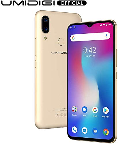 """UMIDIGI Power Unlocked Cell Phones, Android 9.0 Smartphone 6.3"""" FHD+ Waterdrop Full Screen, 16MP+5MP Dual Rear Camera 64GB+4GB RAM 5150mAh Battery 18W Fast Charge Dual 4G (Gold)"""