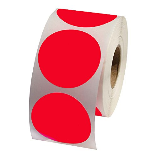 Red Round Color Coding Inventory Labeling Dot Labels / Stickers - 1.5 Inch Round Labels 500 Stickers Per Roll