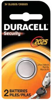Duracell Keyless Entry Battery 3 V Model No. 2025 Card Of 2