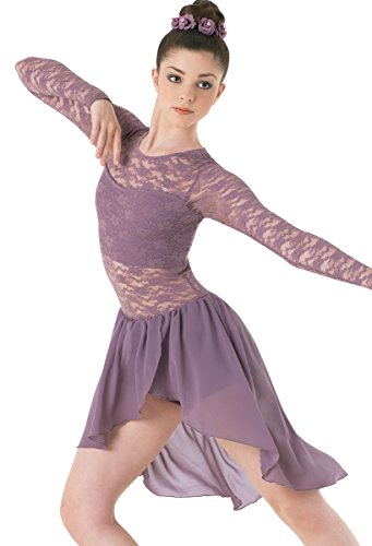 Balera Lyrical Dance Dress Long Sleeve Lace and Georgette with Built-In Bra and Shorts French Mauve Child Large (Lyrical Dance Costumes)