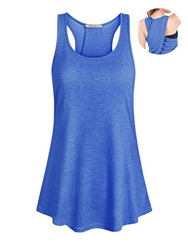 (Cyanstyle Women's Sleeveless Scoop Neck Flowy Loose Fit Racerback Yoga Tank Top Blue L)