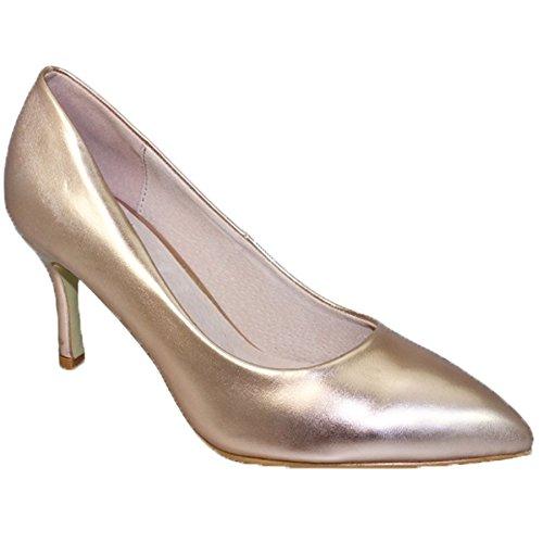 Zapato En Boutique Zafiro Solo Punta Plantilla Medio Charol Dorado Flc090 Pétalos Salón Vestir De Acolchada zapato Tacón nT47gW1q4
