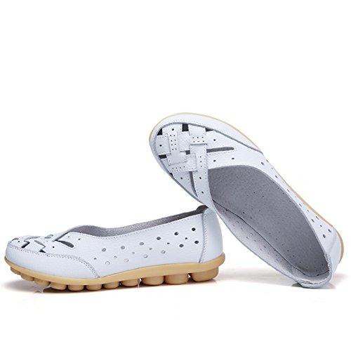 Z-joyee Womens Aushöhlen Casual Leder Fahren Flache Müßiggänger Schuhe Weiß