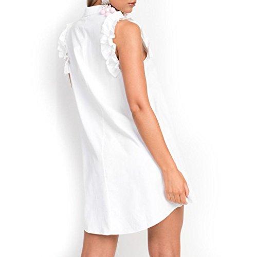 donna maniche Abito donna corto Ruffles Scollo Pulsante a vestito Sysnant V Cerimonia Solido Mini Casuale Donna da senza sexy Mini Abito Dress cerimonia eleganti da g6qA6