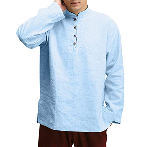 Used, 2019 Tops Men's Casual Blouses Solid Long Sleeve V-Neck for sale  Delivered anywhere in USA