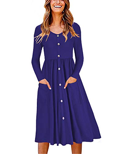 (OUGES Women's Long Sleeve V Neck Button Down Midi Skater Dress with Pockets(Blue,M))