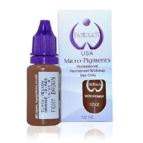 Brown Bottle Eyeliner - BIOTOUCH Micropigment FOXY BROWN Pigment Color Permanent Makeup Microblading Supplies Eyebrow Shading Micropigmentation Cosmetic Tattoo Ink Lip Eyeliner Ombre Feathering Hair Stroke LARGE Bottle 15ml