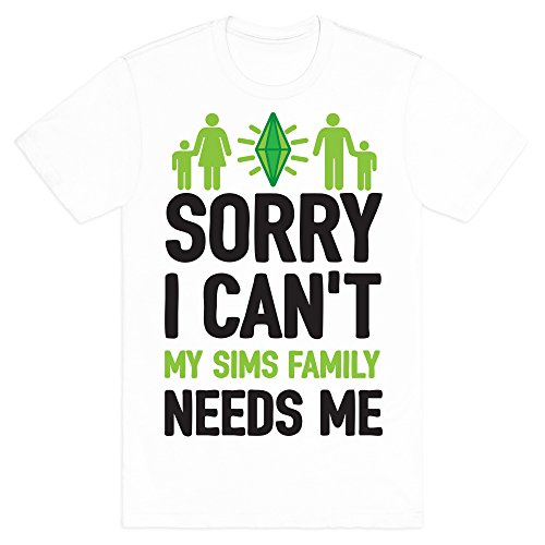 Sorry I Can't My Sims Family Needs Me White Small Mens/Unisex Fitted Cotton Tee by - Sims Apparel