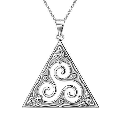 Besilver Spiral Triskele Celtic Knot Necklace 925 Sterling Silver Triskelion Celtic in Triangle Pendant Men Women Boho Ethno Nature Amulet Jewelry for Dad Mom Grandma FP0049W