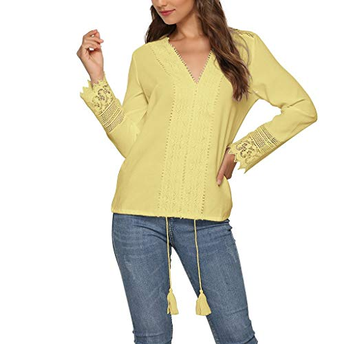 Womens LPlus Size ace Tops Autumn Winter Long Sleeve Linen Baggy Blouse Shirt Ladies Tunic Tops Yellow