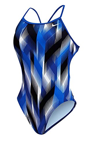 Nike Women's Beam Modern Cut-Out Tank Swimsuit (28, Royal)