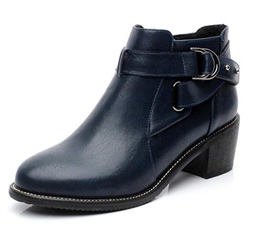 KUKI otoño mujeres botas retro zapatos remaches botas de las mujeres botas cortas con botas casuales blue