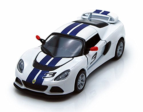 2012 Lotus Exige S Hard Top #3, White with Blue Stripes - Kinsmart 5361DF - 1/32 Scale Diecast Model Replica (Brand New, but NO BOX)
