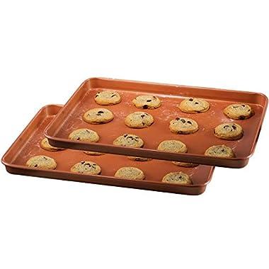 Gotham Steel Baker's Cookie Sheet and Baking Pan Set – Heavy Duty Aluminum 0.8MM Gauge, Nonstick Copper Surface, Dishwasher Safe