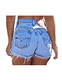 Women's Mid Waist Denim Jeans Pants Shorts Cut Off Hot Summer Skinny