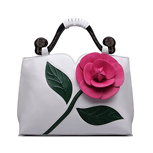 Realer Designer Clutch Purses Wallet Large Leather Handbag with Handle for Women White