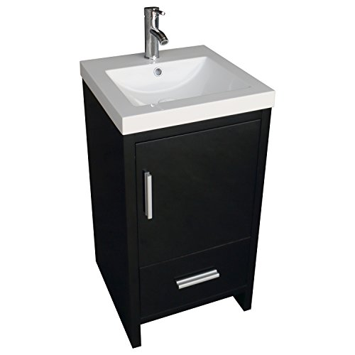 WALCUT 18inch Black Bathroom Vanity MDF Wood Cabinet Resin Porcelain Ceramic Counter Top Vessel Sink Set with Faucet and Pop Up Drain - 18 Bathroom Vanity