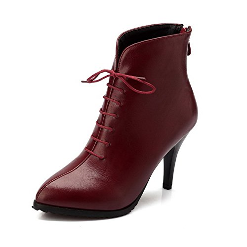 AgooLar Women's High-Heels Solid Pointed Closed Toe Soft Material Zipper Boots Claret jk6MuSNj