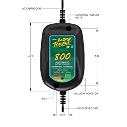 Battery Tender 800 is a SuperSmart Battery Charger that will Constantly Monitor, Charge, and Maintain your Battery. It\'s Encapsulated and Protected from Moisture by an Electrical Insulation