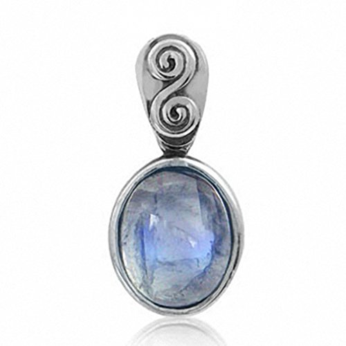 Silvershake Natural Moonstone 925 Sterling Silver Swirl and Spiral Solitaire Pendant