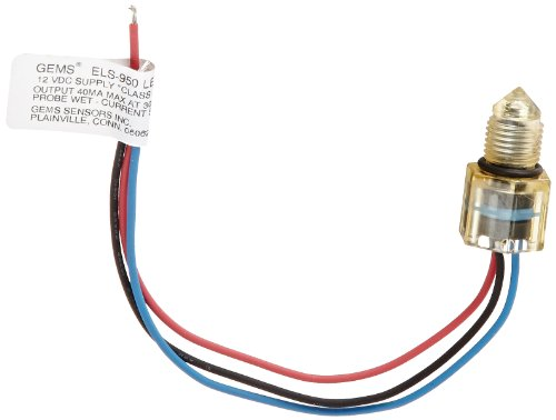 Gems Sensors 224503 Polysulfone Float Rugged Electro-Optic Single Point Level Switch with 6'' Lead Wire Length, 1/2''- 20 UNF-2B, 12V DC, Wet by Gems Sensors