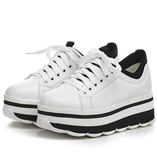 Nero Comfort Scarpe Toe da Creepers White Closed donna Sneakers Estate pelle in Bianco ZHZNVX Nappa Primavera qR8xwdR67