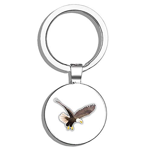 Glover Trading Bald Eagle Round Stainless Steel Metal Key Chain Keychain Ring Double Sided Deisgn