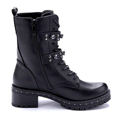 Schuhtempel24 Damen Schuhe Boots Stiefel Stiefeletten Blockabsatz Schnalle/Nieten/Ziersteine 5 cm Schwarz