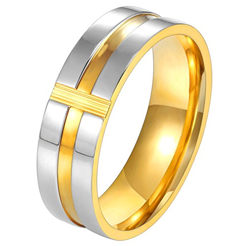 PROSTEEL Cross Ring,Christian Jewelry,Women,Men Jewelry,Gift for Him,Two-Tone Gold Plated,Stainless Steel