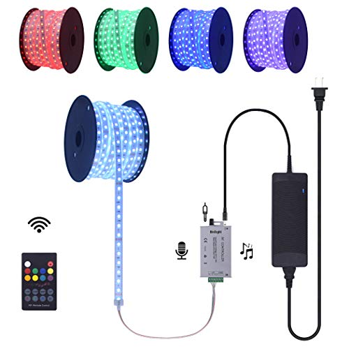 60 Ft Continuous Long Runs 24V RGB LED Strip Light with Colors Changing Music Sound Sensor RF Controller Silicone Tube Encased Waterproof Flexible Rope Light Kit ()